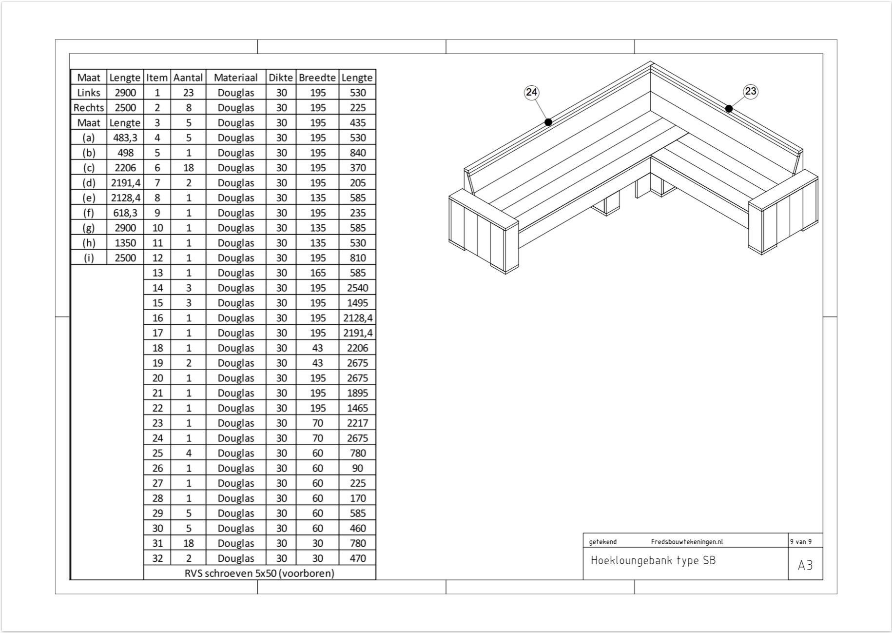 Vaak Opzoek naar een bouwtekening loungebank? Klik dan hier! QK89